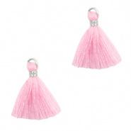 Kwastje roze licht zilver 1,5 cm