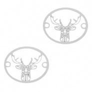 Bedel / connector / tussenstuk hert zilver
