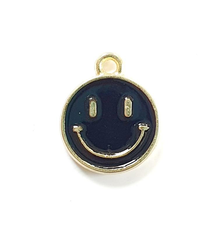 Bedel smiley zwart goud 15x12 mm