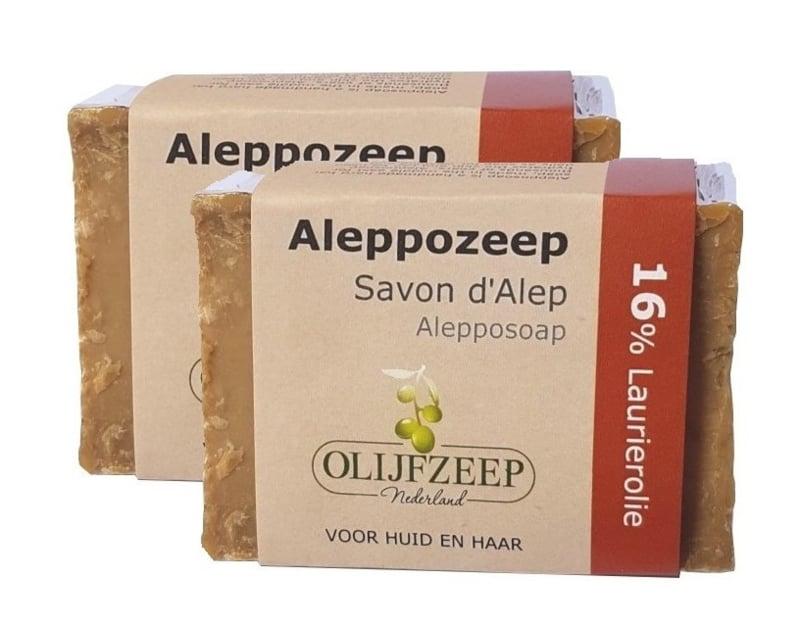 2x Aleppo zeep 16% laurierolie | ca. 200gr