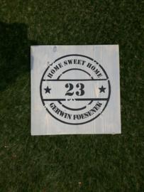 Naambord 37cm x 37 cm