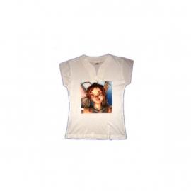Dames shirt, 210 gram, V nek en kapmouw