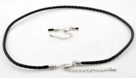 Imitatieleren halsketting/armband ± 54,5cm (± 3mm dik) in maat verstelbaar ± 47-54,5cm