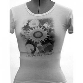 Dames t-shirt, 210 gram, smal rond kraagje