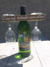 Wijnflesplankje met tekst