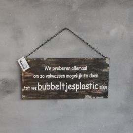 Tekstbord Metaal Bubbeltjesplastic