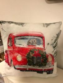Red Car Kerst kussen met led verlichting 40x 40