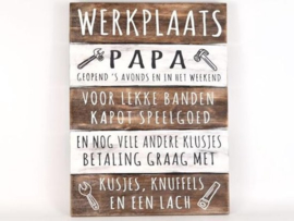 "Houten Tekstplank / Tekstbord 40x30cm ""Werkplaats Papa """