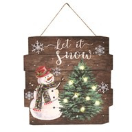 Tekst-Wandbord December  Let it Snow met LED 36 cm