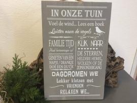 Tekstbord Steigerhout  In onze tuin voel de wind