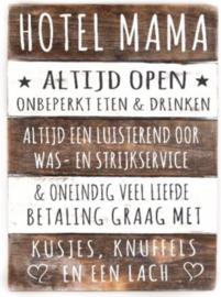 Houten Tekstplank / Tekstbord 40x30cm Hotel Mama