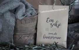 Geurig kraftzakje met tekst  ''Een zakje vol liefs voor de buurvrouw''