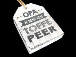 "Hanger label  ""opa toffe peer"" antique white"