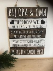 "Houten Tekstplank / Tekstbord 40x30cm ""Bij Opa & Oma"