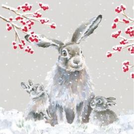 Wrendale Designs Kerstkaart Box Set van 8 Kaarten Snowfall Haas