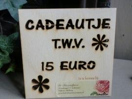 Kadobon 15,00 euro
