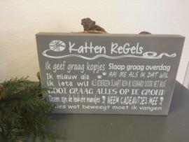 Tekstbord Steigerhout Katten regels