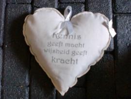 Lavendel kussentje hart 20x20 cm, met tekstopdruk