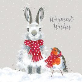Wrendale Designs Kerstkaart Box Set van 8 Kaarten Snow Angels Haas  & Roodborstje