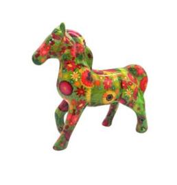 Pomme Pidou Spaarpot Paard Lucky  Groen met Bloemen