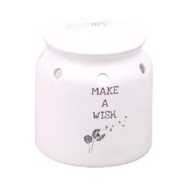 Waxmelt  geurbrander met tekst Make A Wish 10,5 x 10,5 cm