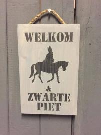 Tekstbord Steigerhout Welkom Sint en Zwarte Piet