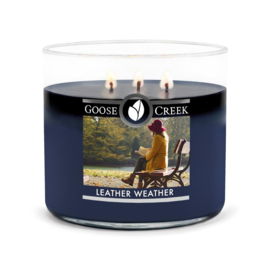 Leather Weather Goose Creek Candle  Soy Blend   3 Wick Tumbler
