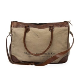 Leather canvas bag Text