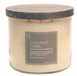Coconut Coral Village Candle Soy Blended 3 wick