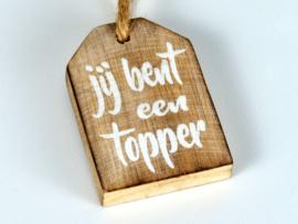 "Mini hanger label met tekst ""Topper """