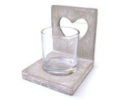 Waxinehouder hart spiegel + glas 10cm taup
