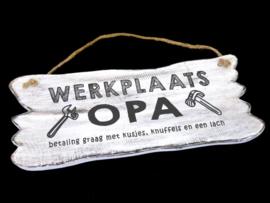 Tekstbord hangend 12 x 30 Werkplaats Opa