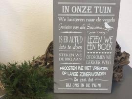 Tekstbord Steigerhout In onze tuin