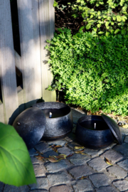 Outdoor candle set 2 in metal bowl