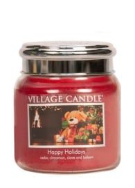 Village Candle Happy Holidays   Medium 105 Branduren