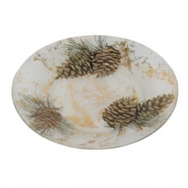 Golden Pinecone Candle Plate 18cm