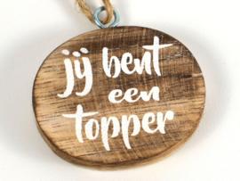 """Mini hanger ovaal met tekst """"Topper """""""