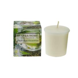 Witte thee & Eucalyptus  Heart & Home  Votive Geurkaars  52 gram
