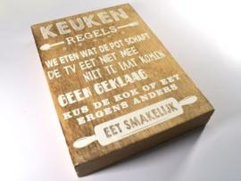 "Tekstblok 25x18cm naturel ""keuken regels"""