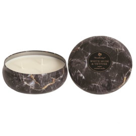White Musk & Vetiver Woodbridge  Marble Effect Tinned Candle