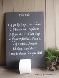 Toilet Rules Tekstbord