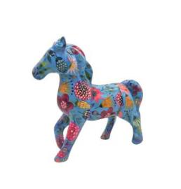 Pomme Pidou Spaarpot Paard Lucky  Blauw met Bloemen