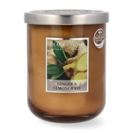 Ginger & Lemongrass geurkaars Heart & Home 340 gram