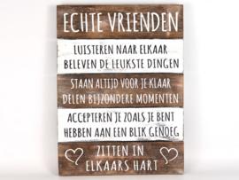 Houten Tekstplank / Tekstbord 40x30cm Echte Vrienden