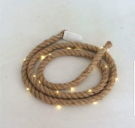 Jute touw 1,50 cm met 20 led lampjes.