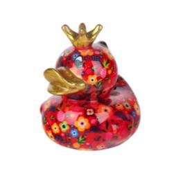 Pomme Pidou Spaarpot King Ducky  Rood met Bloemen