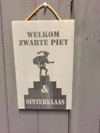 Tekstbord Steigerhout Welkom Zwarte piet