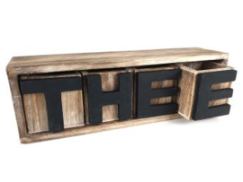Thee kastje thee 4  lades  natural/black