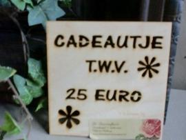 Kadobon  25,00 euro