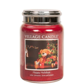 Happy Holiday Village Candle  Large Jar  170 Branduren